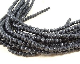 Czech Beads, 3mm English Cut, Czech Glass Beads - Matte Black (EC/SM-M2398) - Qty. 50