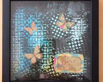 Brave Butterfly Mixed Media Decoupage Home Decor Shadow Box