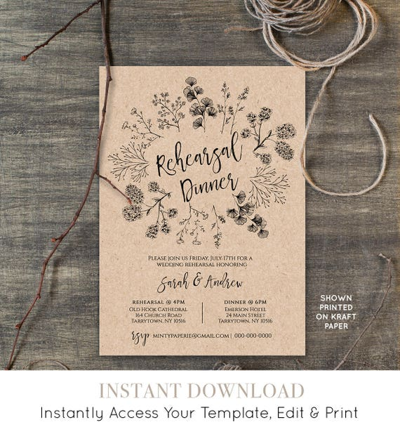 Printable Wedding Rehearsal Dinner Invitation Template, INSTANT DOWNLOAD, Rustic Rehearsal Invite, Fully Editable Template, DIY #018-104RD