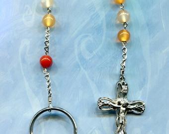 8mm Carnelian 1 decade chain pocket rosary
