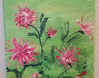 Acrylic painting on 6x6 canvas, Florals, Titled: Floral 4 - Spider Mums - 6x6