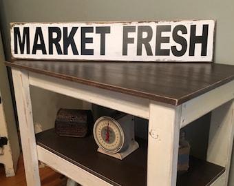 Market Fresh Sign,Farmhouse Style Sign,Wood Market Fresh Sign,Farmhouse Wall Decor,Rustic Wood Signs,Rustic Wall Decor,Market Fresh Signs