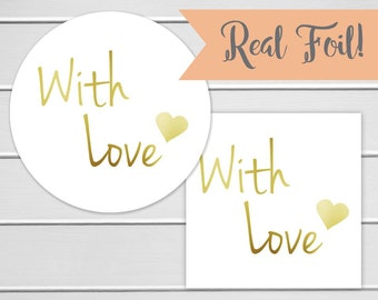 With Love Labels, Gold Foil on White With Love Stickers, Thank You Stickers, Printed Stickers (#120-F)