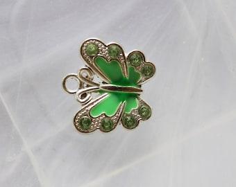 Green enameled metal Butterfly charm