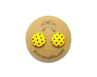 Yellow & black polka dot fabric button earrings - yellow polka dot earrings - polka dot earrings - pinup earrings - yellow polka dot studs