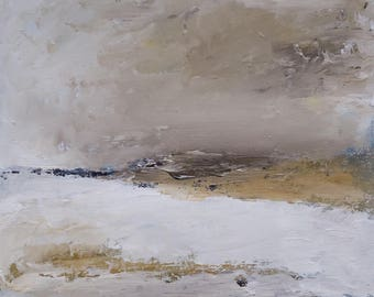 Oil painting abstract landscape - MORNING LIGHT- original painting expressive earthy, clouds,grey sky, 8x8 inches