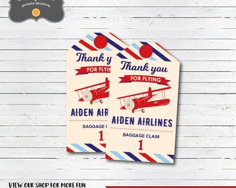 Airplane Birthday Favor Tags, Airplane Thank You Tags, DIY Printable PDF file, Personalized