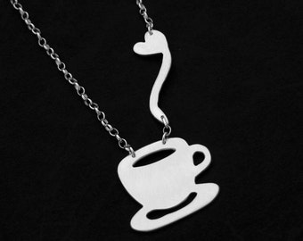 Coffee Necklace - Silver Coffee Jewelry - Coffee Cup Necklace - I love Coffee - Coffee Addict - Coffee Lovers Gift