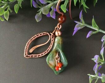 Wire Wrap Flower Earrings, Floral Earrings, Wire Wrapped Earrings, Copper Earrings, Flower Jewelry, Green Earrings, Wire Wrapped Jewelry