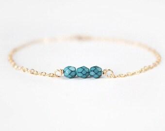 Beaded Bracelet - Sweet Pea - Turquoise Howlite