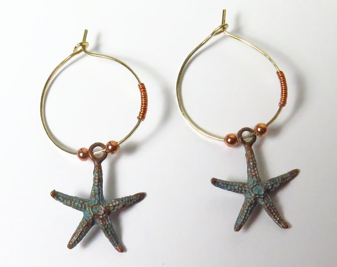 Starfish Hoops - Gold Hoops - Beach Jewelry - Copper Jewelry - Starfish Jewelry - Hand made - Starfish Charms - Patina - Free Ship & Track