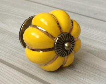 Yellow Cabinet Knobs Pumpkin Knobs Kitchen Dresser Knob Drawer Knobs Pulls Handles Ceramic Porcelain / Antique Bronze Decorative Hardware