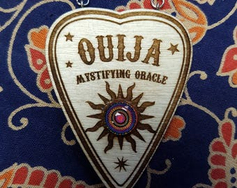 Laser engraved Ouija Planchette necklace