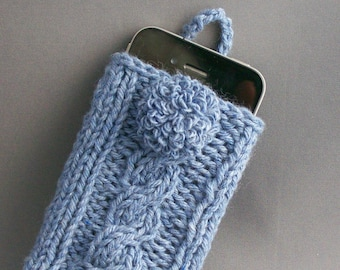 iPhone 4-7 Samsung Galaxy 4-7 Sleeve Hand Knit Denim Blue with Handmade Covered Button Office Gift under 30