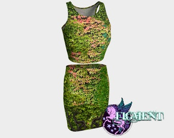 Ivy BodyCon Outfit - Crop Top and BodyCon Skirt - Poison Ivy Outfit, Poison Ivy Cosplay, Poison Ivy Costume, Poison Ivy Dress, Gift