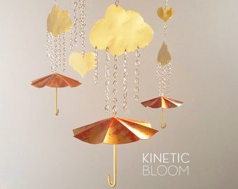 clouds and umbrellas, brass and copper, kinetic mobile, nursery decor, baby mobile, mobiles