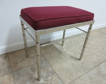 Vintage Mid Century Chrome Faux Bamboo Foot Stool Vanity Bench ottoman