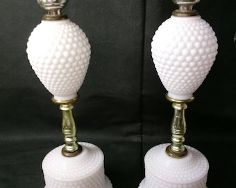 Pair of Milk Glass Hobnail Table Lamps