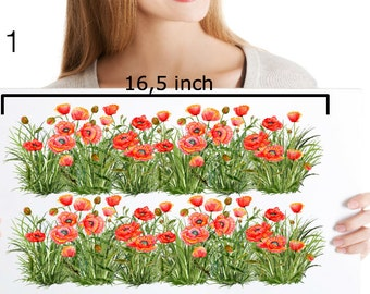 Wall Decals Grass With Poppies, Grass Decal Border, Grass Wall Decor, Grass Decals for Tiles Walls Furniture, Hand Painted Grass Decals