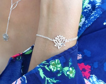 Silver Lotus bracelet, yoga jewelry, lotus flower, zen, sterling silver bracelet, minimal bracelet, dainty bracelet, new age jewelry, otis b