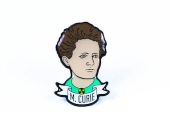 Marie Curie Glow-in-the-Dark Enamel Pin - Science Heroes Series