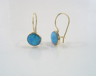 Sparkles - round Lab Opals and gold earrings