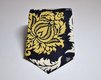 Necktie - Charcoal Grey and Yellow Damask - Mens Tie or Boys Nectie