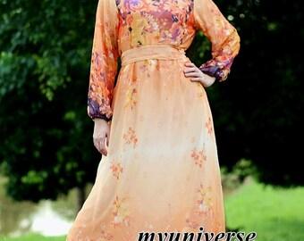 Floral Dress Long Sleeves Dress Maxi Dress Dress Party Coast Chiffon Summer