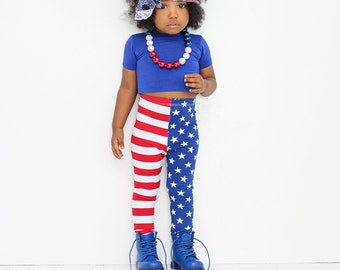 Baby Girl Baby Boy Stars and Stripes American Flag Leggings: Etsy kid's fashion, toddler 4th of July, Merica Leggings, Red White and Blue