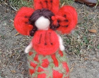 Needle felted wool Poppy Maiden - honoring Elsa Beskow - Needle felted - Waldorf Inspired by Rebecca Varon
