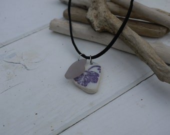 Lavender sea glass and sea pottery necklace