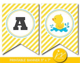 Duck baby shower banner, Yellow duck banner, Duck banner, Ducky banner, Duck bunting, Duck garland, Rubber duck garland, Duck pennant BD2-20