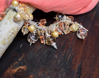 Peaches and Cream: Peach and Silver Charm Bracelet