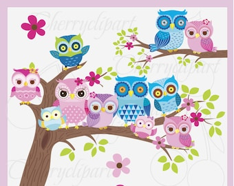 Owl Family Digital Clip Art -Personal and Commercial Use