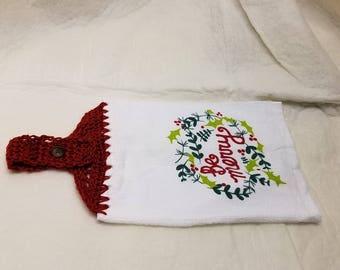Red top, Mistletoe Hanging Kitchen towel, kitchen towel, Christmas kitchen, kitchen decor, Christmas decoration,  machine washable