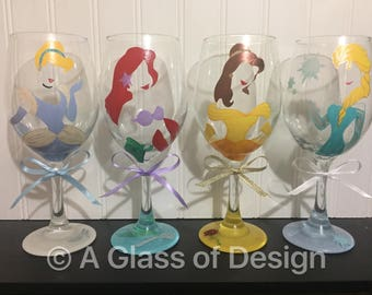 Snow White, Jasmine, Ariel, Disney Princess, Princess, Princess glasses, Princess wine glasses, Snow White glass, a glass of design, wine