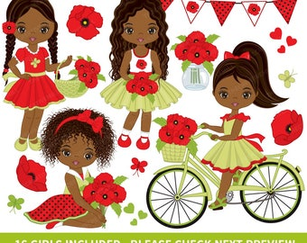 Poppies Clipart - Vector Poppies Clipart, African American Girl Clipart, Poppy Girl Clipart, Kids Clipart, Poppy Girls Clip Art