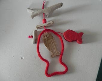 Hanging Driftwood fish and beads