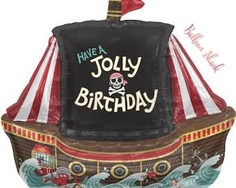 "Pirate Ship Balloon-36"" Foil Balloon-Pirate Birthday- Jolly Pirate Balloon"