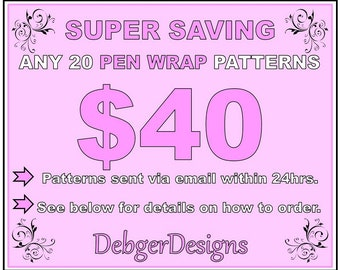 SUPER SAVING - Pen Wrap peyote beading patterns 20 for 40 Dollars