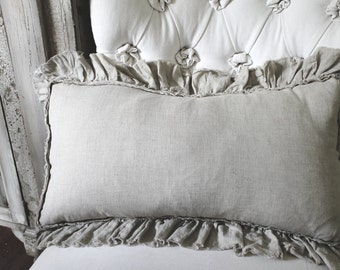 SAMPLE SALE Vintage Ruffle Pillow in Flax Linen 14x25