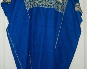 Chiapas, Mexico, Blue Blouse, Hand-woven, Size Medium