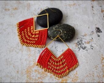 Red Fringe Earrings, Large Earrings, Statement Earrings, Boho, Bold, Geometric,Nickel Free, Seed bead Earrings, Gift for her, Long Earrings
