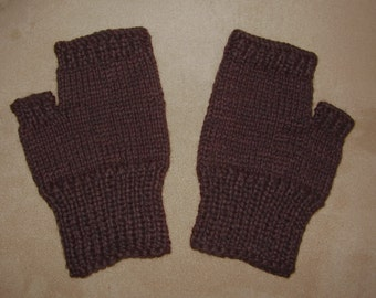 Hand knit Fingerless Gloves - Black