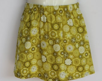 Girls Olive Green Floral Skirt - sizes 1 to 5 avail - retro, 70's, daisy, flower