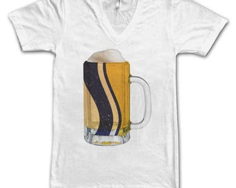Ladies South Bend, IN City Flag Beer Mug Tee, Home Tee, City Pride, City Flag, Beer Tee, Beer T-Shirt, Beer Thinkers, Beer Lovers Tee