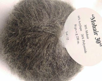 1 balls of yarn / taupe / MOHAIR / kid mohair / made in France