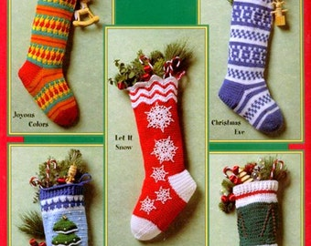 Vintage Crochet Pattern   Christmas Stocking  5 Designs Snowflake Christmas Tree  Christmas Decoration Holiday  INSTANT DOWNLOAD PDF