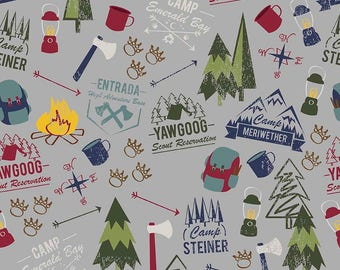 Modern Scouting Main Gray by Riley Blake Designs - Boy Scouts Camping - Quilting Cotton Fabric - choose your cut