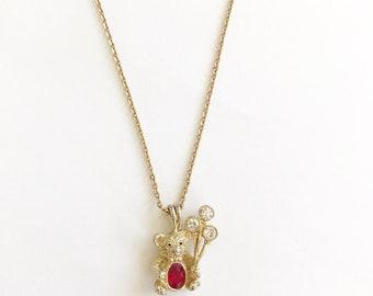 "Sweet July Birthstone Birthday Bear Pendant Necklace~A cute gold tone Bear with a Ruby Rhinestone Tummy on 16"" Chain"